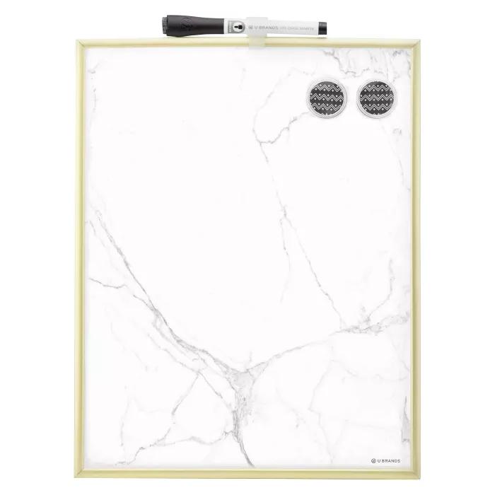 U Brands 11 X14 Marble Dry Erase Board Gold Frame In 2020 Dry Erase Board Gold Office Supplies Gold Office