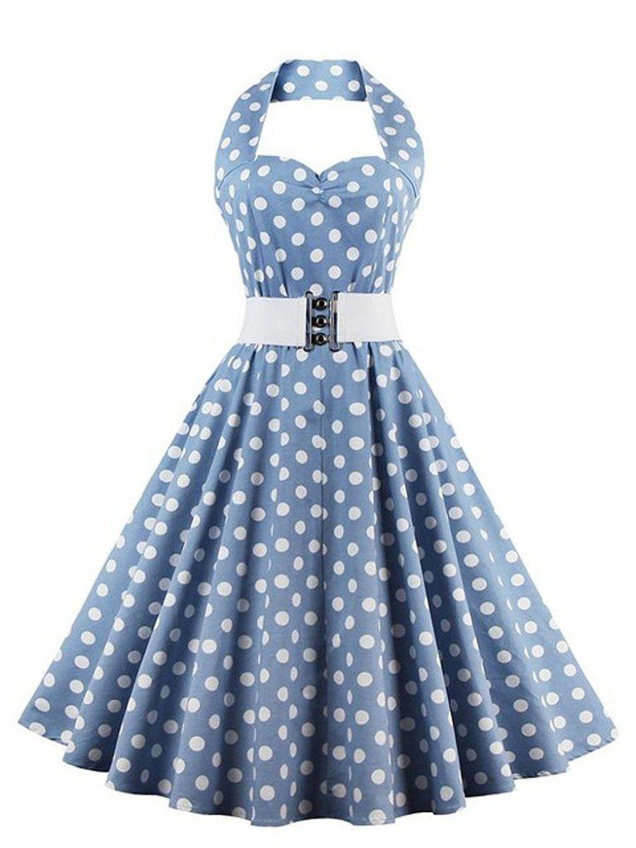 blue 1950s dot neckholder swing dress – uniqueretro.store