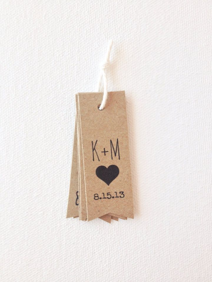 Wedding favor tags  rustic initials wedding tags by PrintSmitten