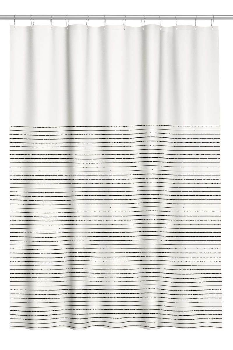 Natural White Blue Striped Shower Curtain In Cotton Fabric With
