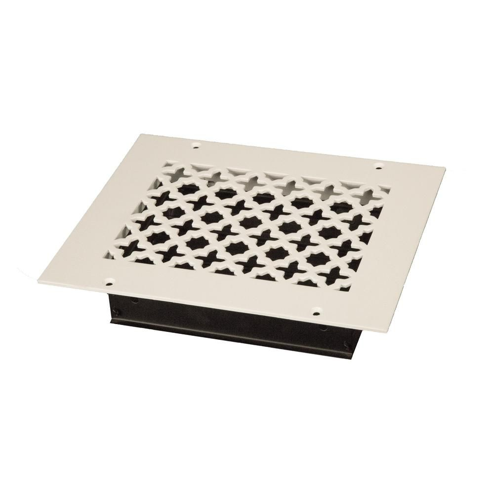 Steelcrest Victorian 8 In X 6 In White Powder Coat Steel Wall Ceiling Vent With Opposed Blade Damper Steel Wall Flooring Steel