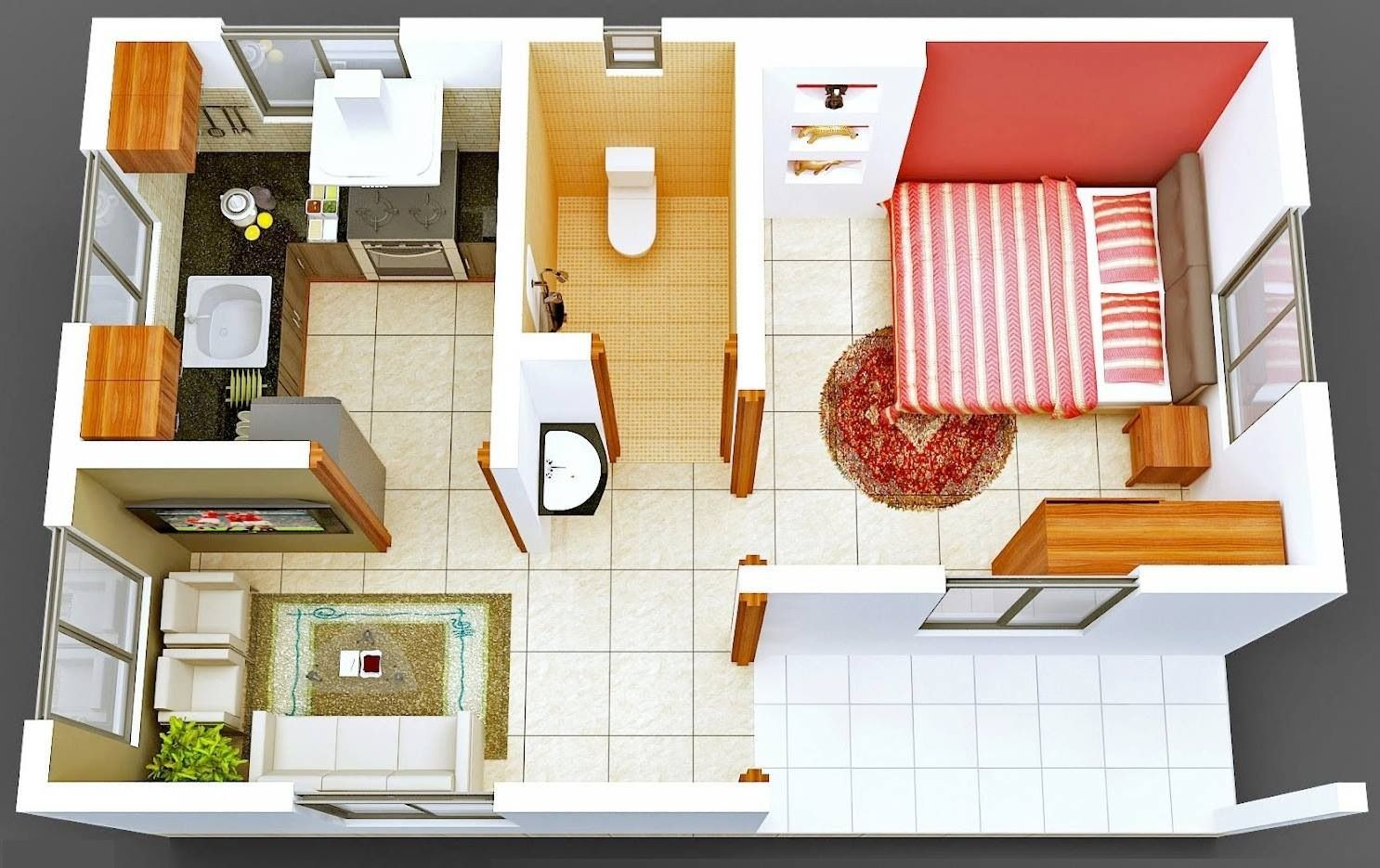 1 Bed Apartment | 3D Homes | Pinterest