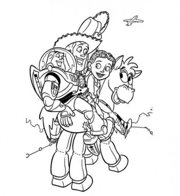 Buzz Jessie And Woody Riding Bullseye In Toy Story Coloring Page
