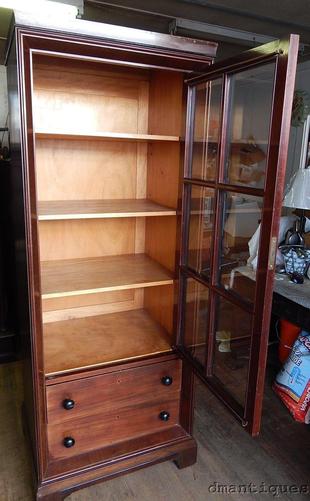 Antique Walnut Storage Display Gun Cabinet Glass Door 2 Large
