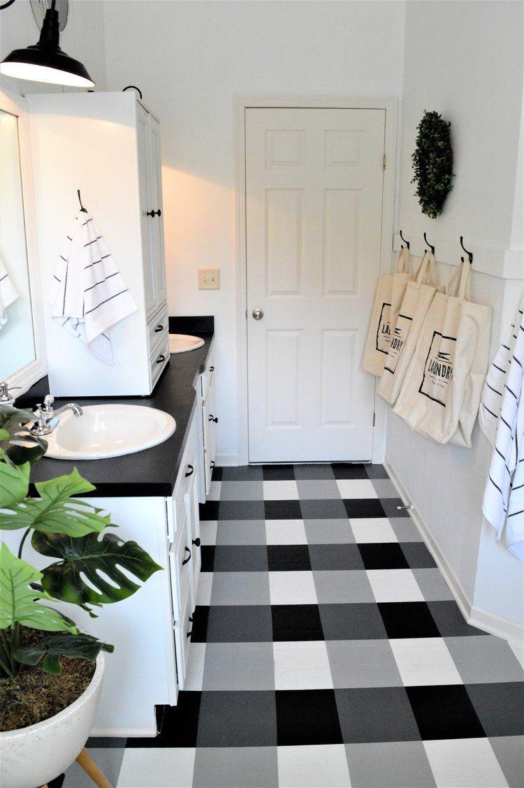 Buffalo Check Painted Floors DIY Tutorial   bathroom   Pinterest ...
