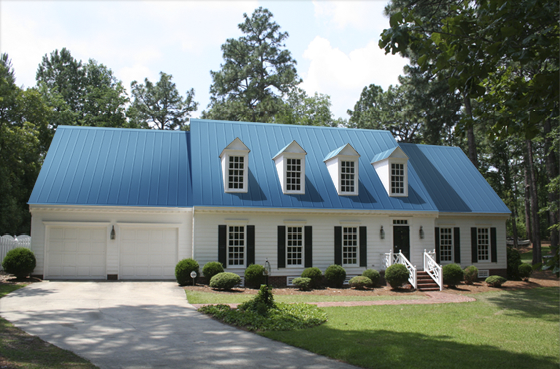 Virtual Roofer Prestige Metal Roofing Royal Blue Red Roof House Metal Roof Houses Metal Roof