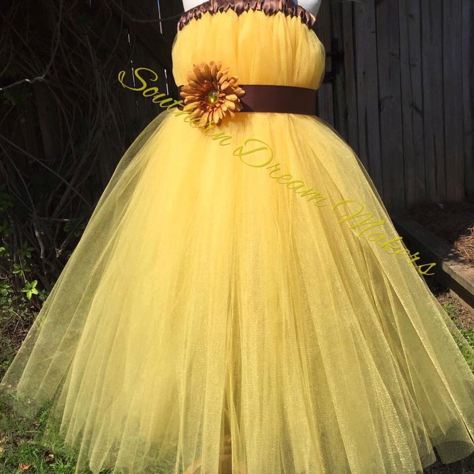 Yellow Flower Girl Dress Country Chic Flower Girl Dress Sunflower