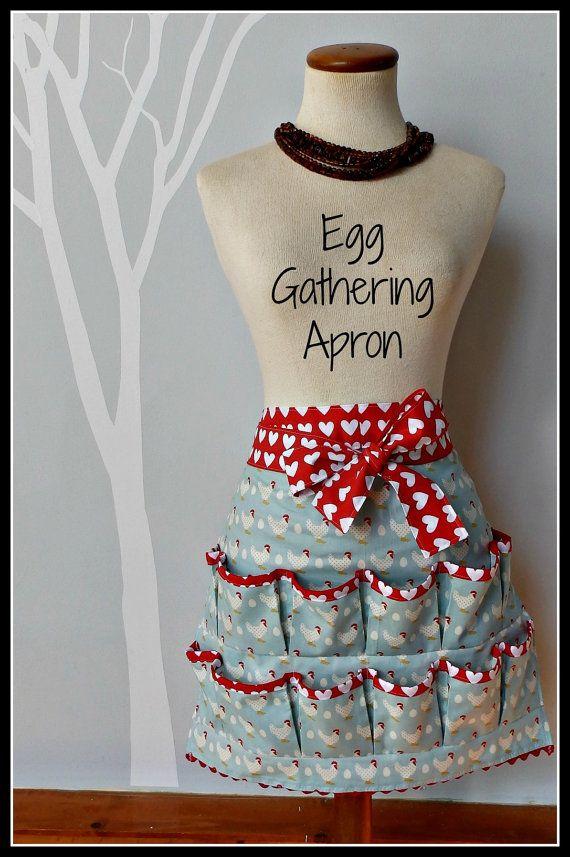 Egg Gathering Apron : gathering, apron, Women's, Gathering, Apron,, Chickens,, Pockets, Aprons, Patterns,, Apron