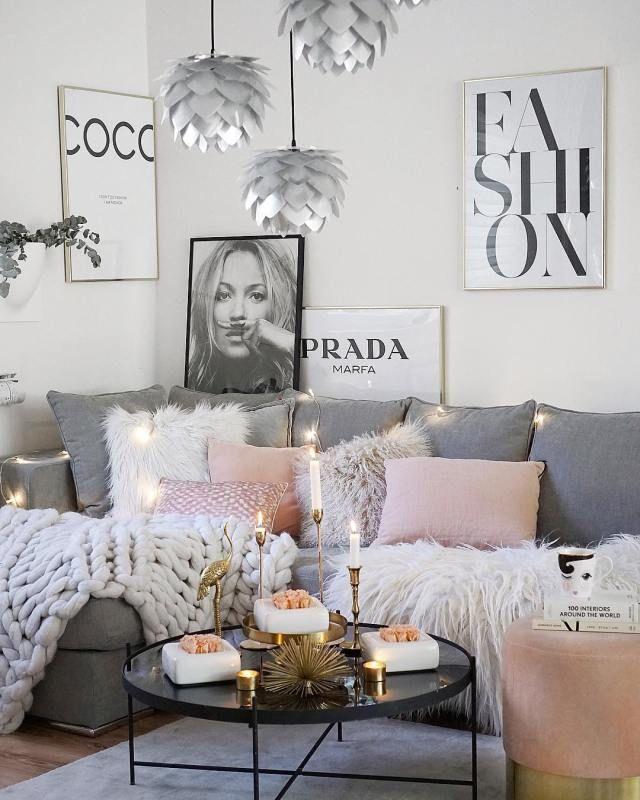 Loving This Grey And Light Pink Cozy Living Room Decor Livingroom Apartment