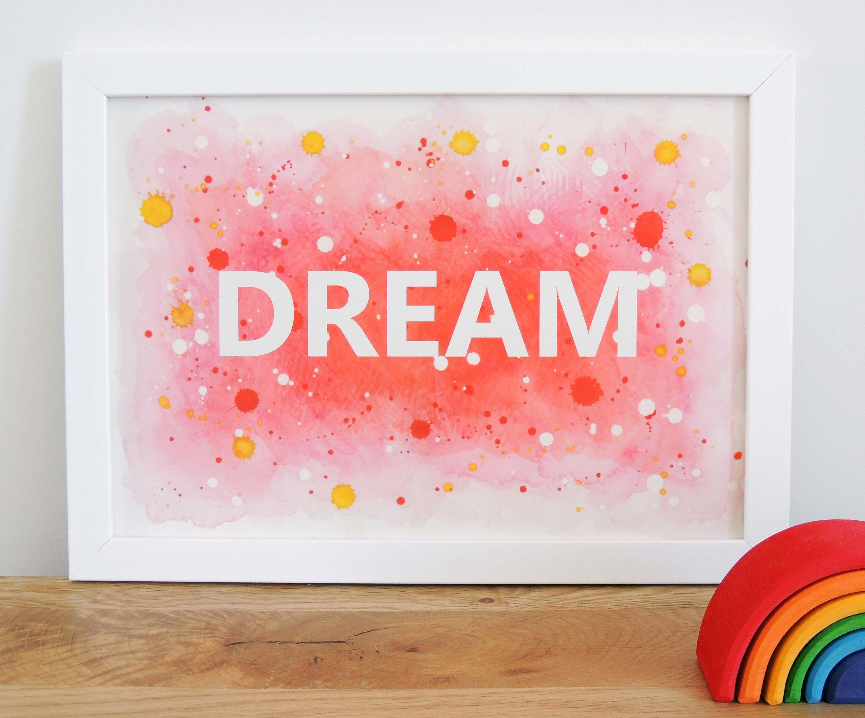 Dream childus print pink kids print girls bedroom decor bedroom