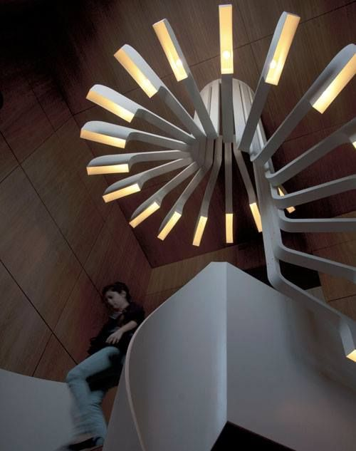 Spiral Staircase Lighting by .PSLAB in a home in Beirut, Lebanon