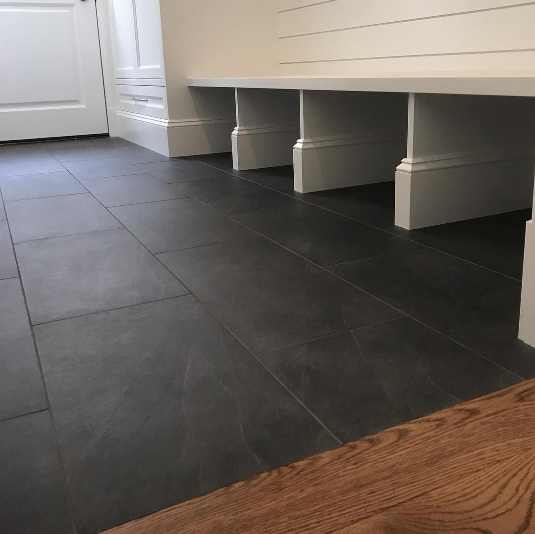 Mike Corona On Instagram Mudroom Envy 12x24 Black Slate Porcelain Simple Clean Coronamarble Black Slate Tiles Black Slate Floor Black Floor Tiles