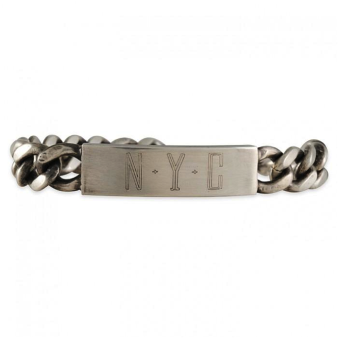 "Workhorse ""New York"" bracelet $110 #29972. Check it out on http://www.clay-pot.com/jewelry/designers/view-by-design/workhorse/workhorse-thick-id-bracelet-7-ss-29972.html or in our stores. #newyork #workhorse #holiday"