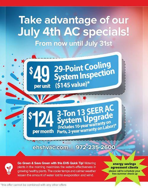 Fourth Of July Discounts On Dallas Ac Repair Ac Repair Hvac