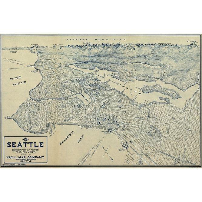 Seattle, Washington - (1925) - Panoramic Map (Keepsake Tin), Silver ...