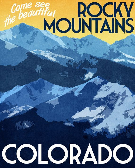 Colorado Travel Print Rocky Mountains Vintage Style Poster in Deep ...