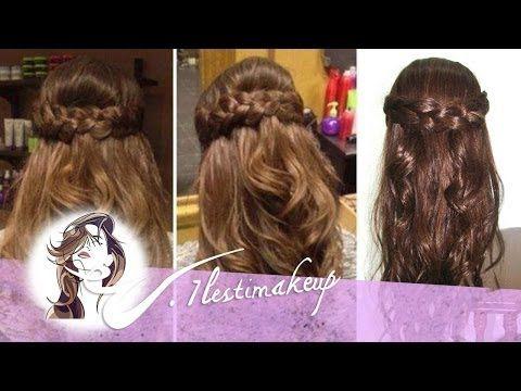Peinado f cil semirecogido con ondas y trenzas youtube - Peinados recogidos con trenzas ...