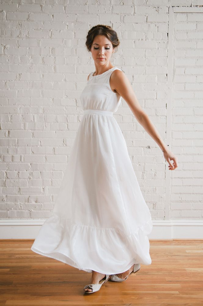 With a super cute peter pan collar, this wedding #dress is perfect for a rustic style #wedding! From http://rusticweddingchic.com/rustic-wedding-inspiration-board#  Elsie Wedding Dress by http://shop.whitneydeal.com/product/elsie  Photo Credit: http://whitneydeal.com/