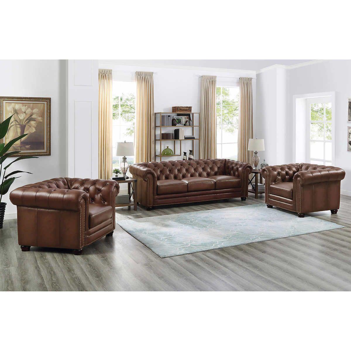 Allington 3piece Top Grain Leather Set Sofa, Chair, Chair