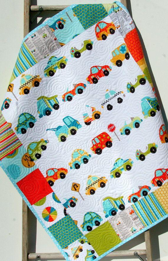 LAST ONES Peak Hour Boy Quilt Cars Trucks Vehicles Teal Aqua ... : transportation quilt - Adamdwight.com