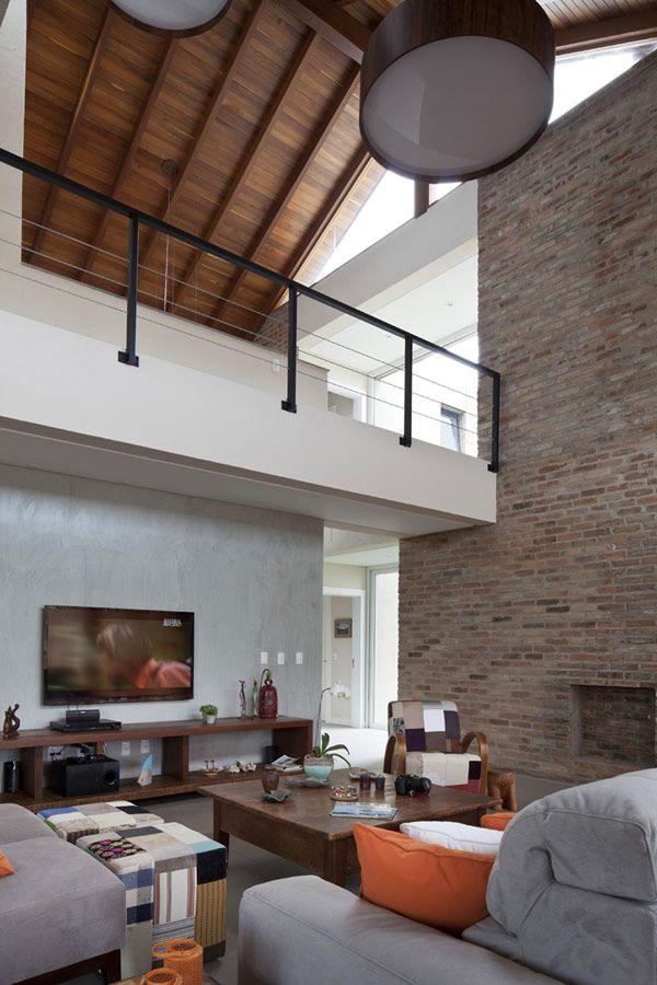 Brick Defined Contemporary Residence In Brazil Casa Ckn Casa Contemporanea Arquiteta Design De Sala De Estar