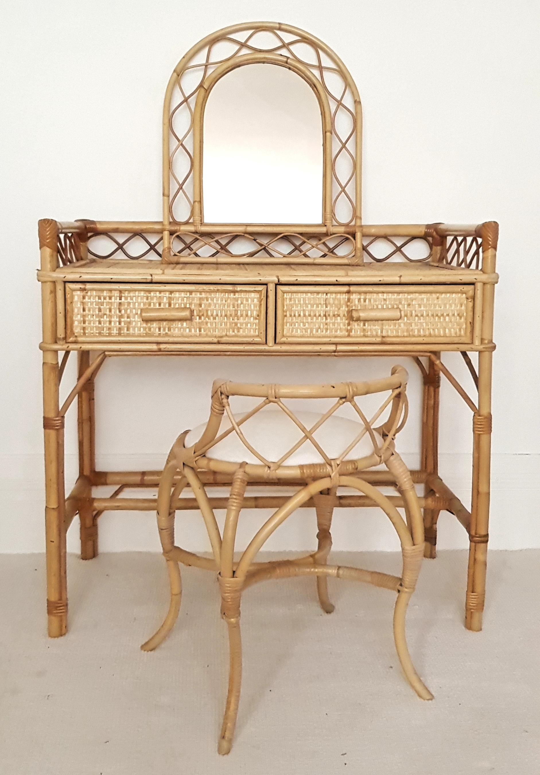 Dressing Table With Mirror And Stool: Vintage Bamboo & Rattan Dressing Table Set, Padded Stool