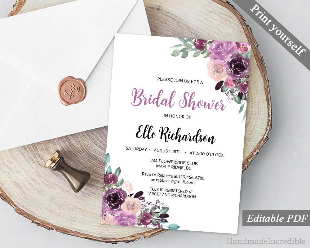 Purple Sangria Bridal Shower Invitation Template. Printable Purple ...