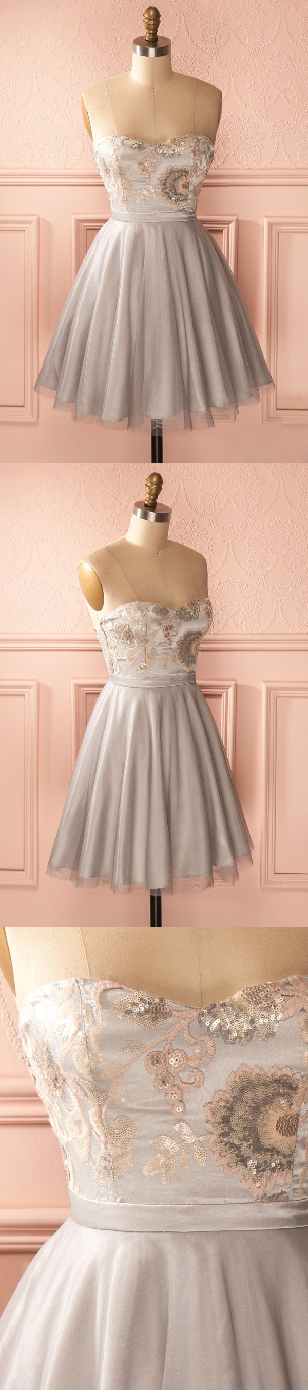 Aline sweetheart short grey tulle homecoming dress with embroidery