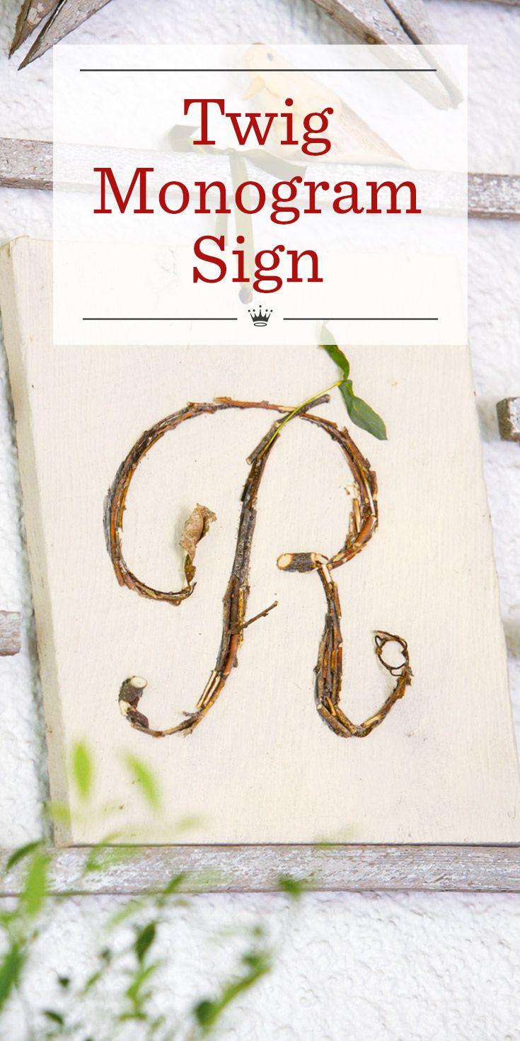 Twig monogram sign | Fall | Pinterest | Monogram template, Monogram ...