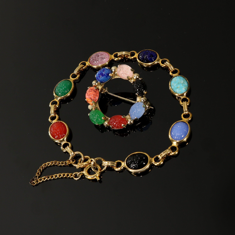 Scarab Beetle Bracelet Brooch Set Glass Imitation Gemstone
