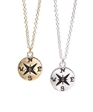 Antique Compass Pendant Necklace - Multiple Colors $12.99