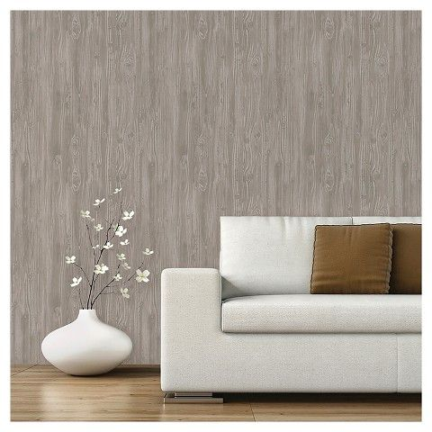 Devine Color Peel and Stick Wallpaper Textured Driftwood Pattern - Grey