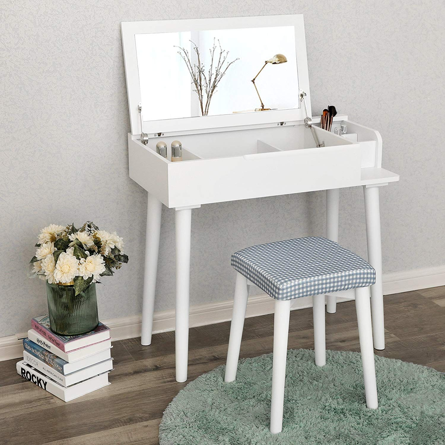 Songmics Vanity Makeup Table With Organizers White Small Vanity Table Dressing Table Design Dressing Table For Small Space