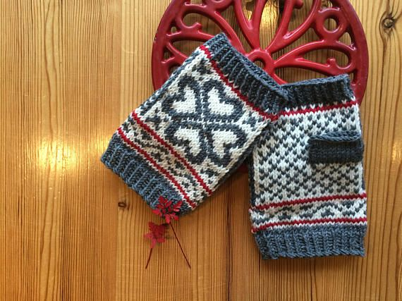 Hand Knitted Fair Isle Fingerless Mittens in soft Merino | My Etsy ...