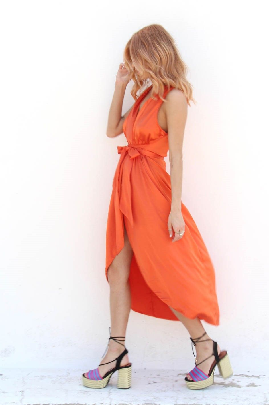 Sleeveless Satin Wrap Orange