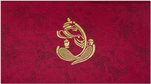 A Beautiful Gold Ganesha Image On The Fabric Base Card Gives Finishing Touch To The Beauty Along With Le Wedding Cards Indian Wedding Cards Hindu Wedding Cards