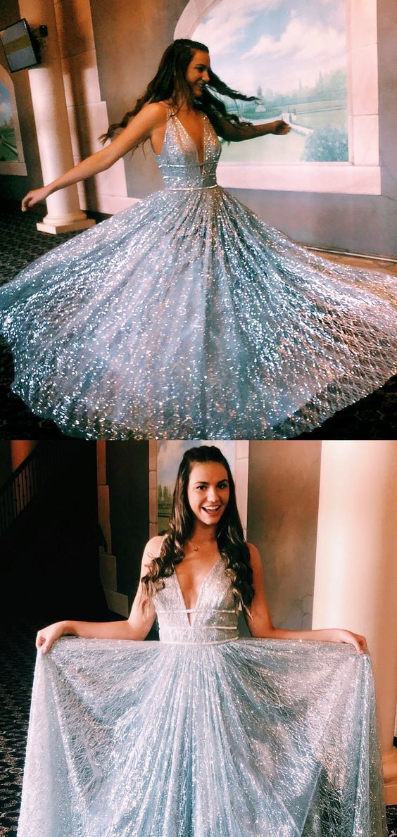 Prom Dresses Ball Gown, Gorgeous Custom Made Unique Sparkly A-Line Floor Length Grey Long Prom Dress SantaFe Bridal #promdresseslong