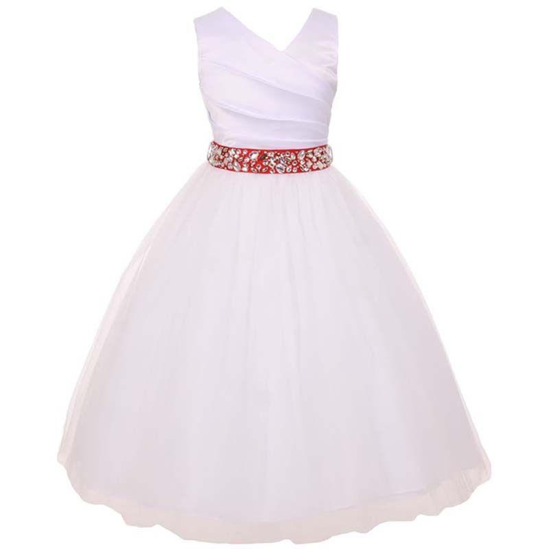 WHITE PINK Flower Girl Dress Party Graduation Pageant Recital Wedding Birthday