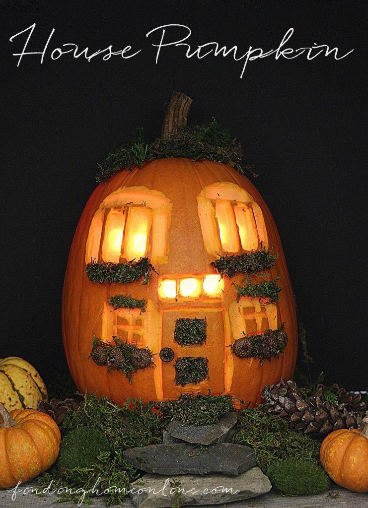 30 minute pumpkin challenge a house pumpkin pumpkin for Fairytale pumpkin carving ideas