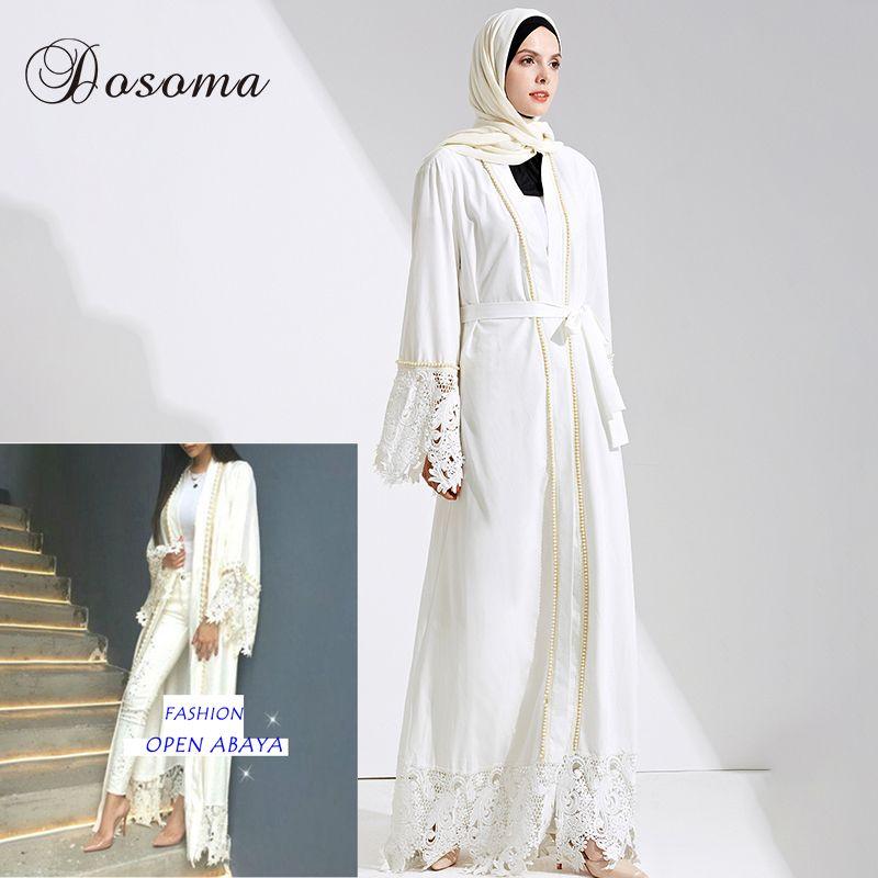 6ff9102bd2 Muslim Maxi Dress Open Abaya Lace Beading Jilbab Belt Long Robe ...