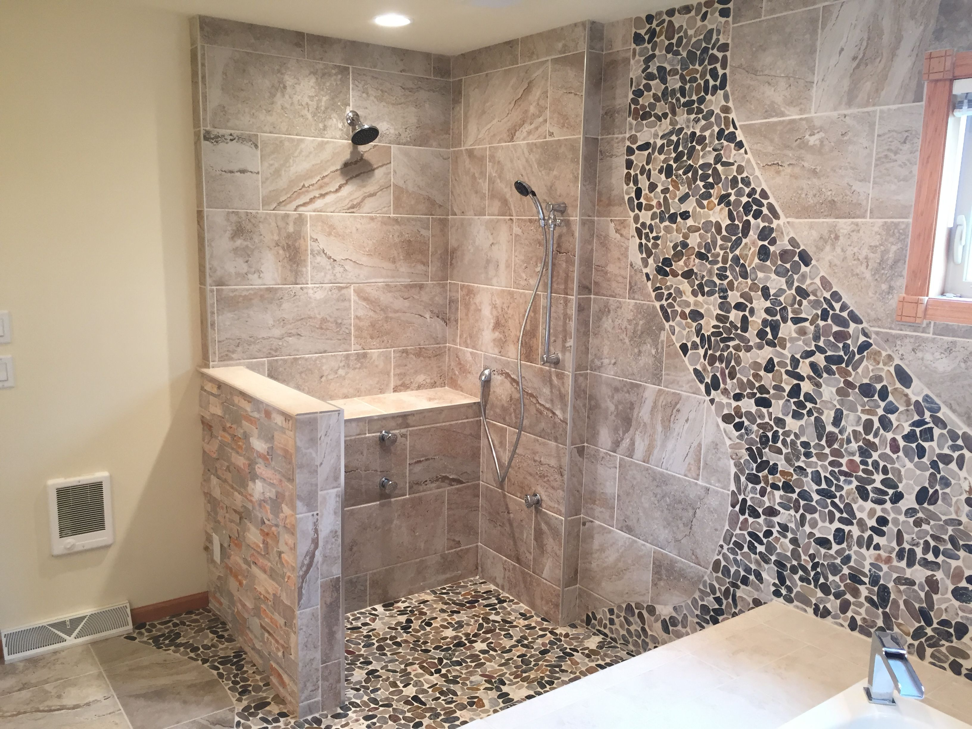 Custom Shower With Delta Leland Shower Head And Trim, Delta Body Sprays  Installed By Top