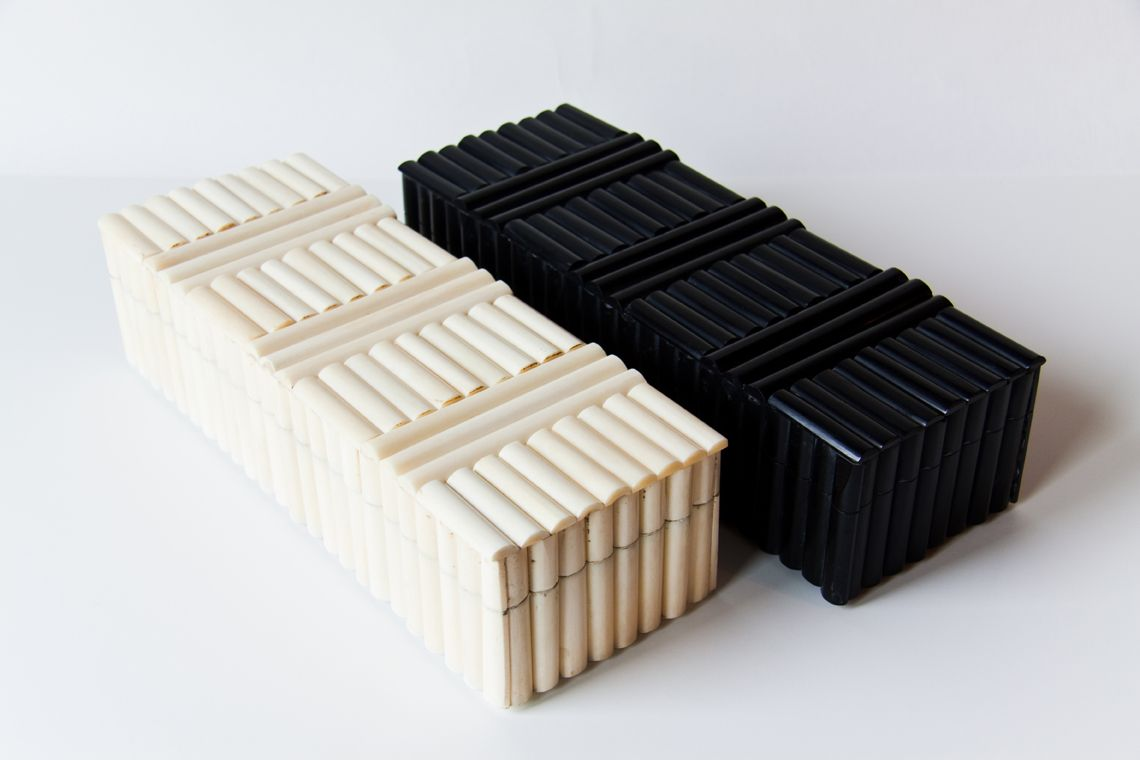 Bone and Horn boxes with a unique marquetry application all over.