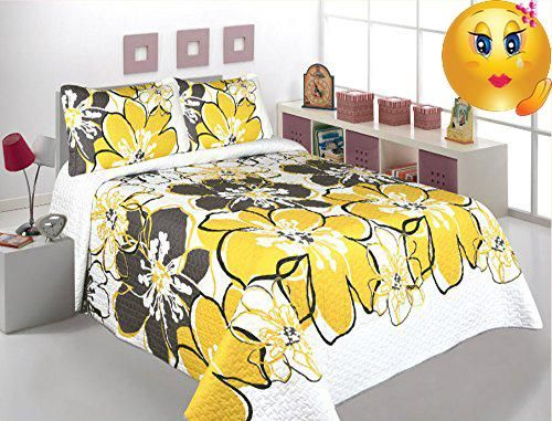 3 Pcs Printed Bedspread/ Coverlet Sets/ Quilt Sets, King Size, Yellow  Floral Over Size