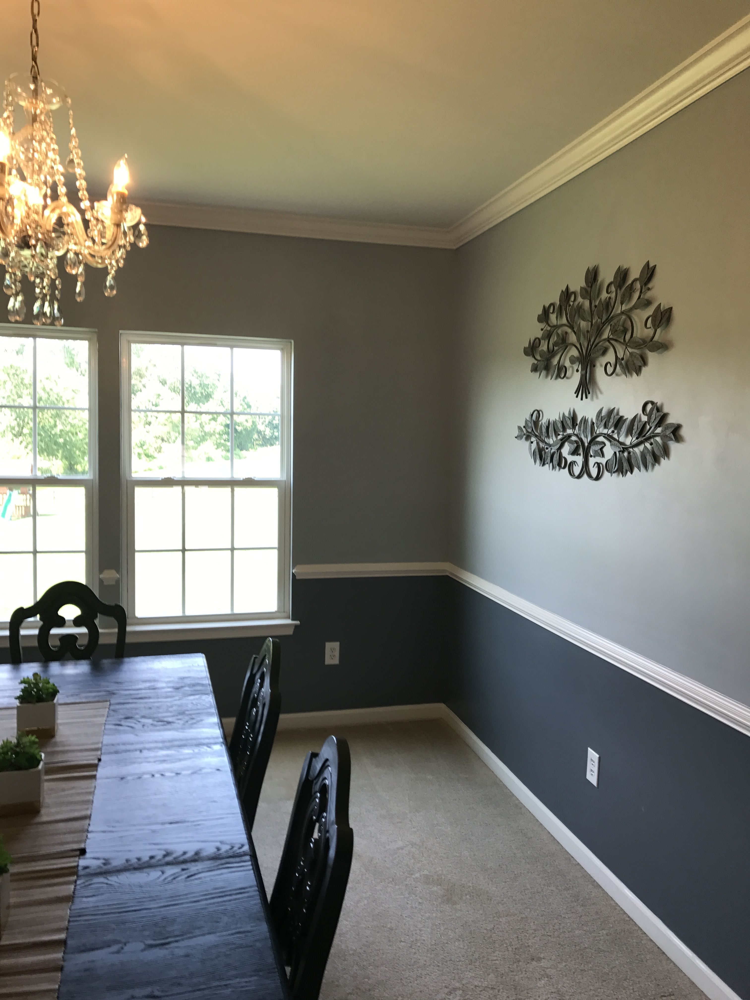 Dining Room Sherwin Williams Downing Slate Chair Rail Sherwin Williams Colonial Revival Gray Front Room Colonial Revival Sherwin Williams Gray