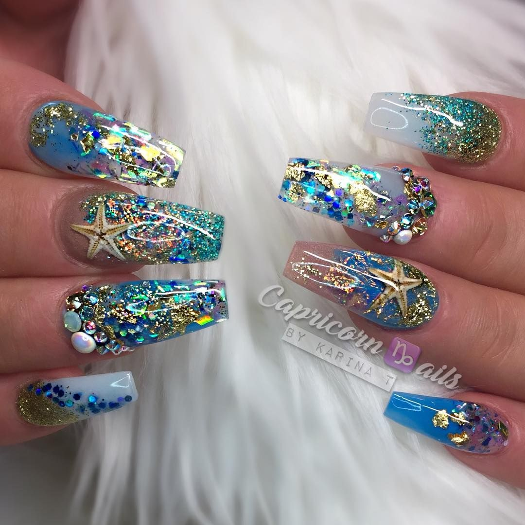 617 Me Gusta 12 Comentarios Capricorn Ails By Karina T Karina Capricorn777 En Instagram Summer Withdrawa Ocean Nail Art Nail Art Designs Luxury Nails