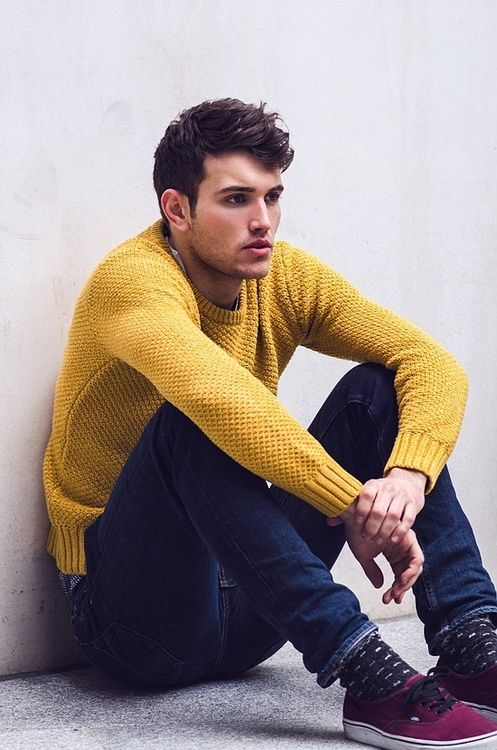 Men's Yellow Crew-neck Sweater, Navy Jeans, Purple Plimsolls ...