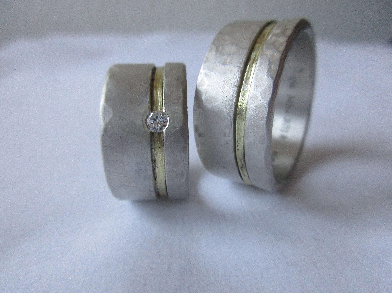 Ausgefallene Trauringe Handgefertigte Eheringe Silber Gold Diamant Set Rustikal Zweifarbig Ausgefallen Gold Wedding Rings Wedding Rings Silver Wedding Rings