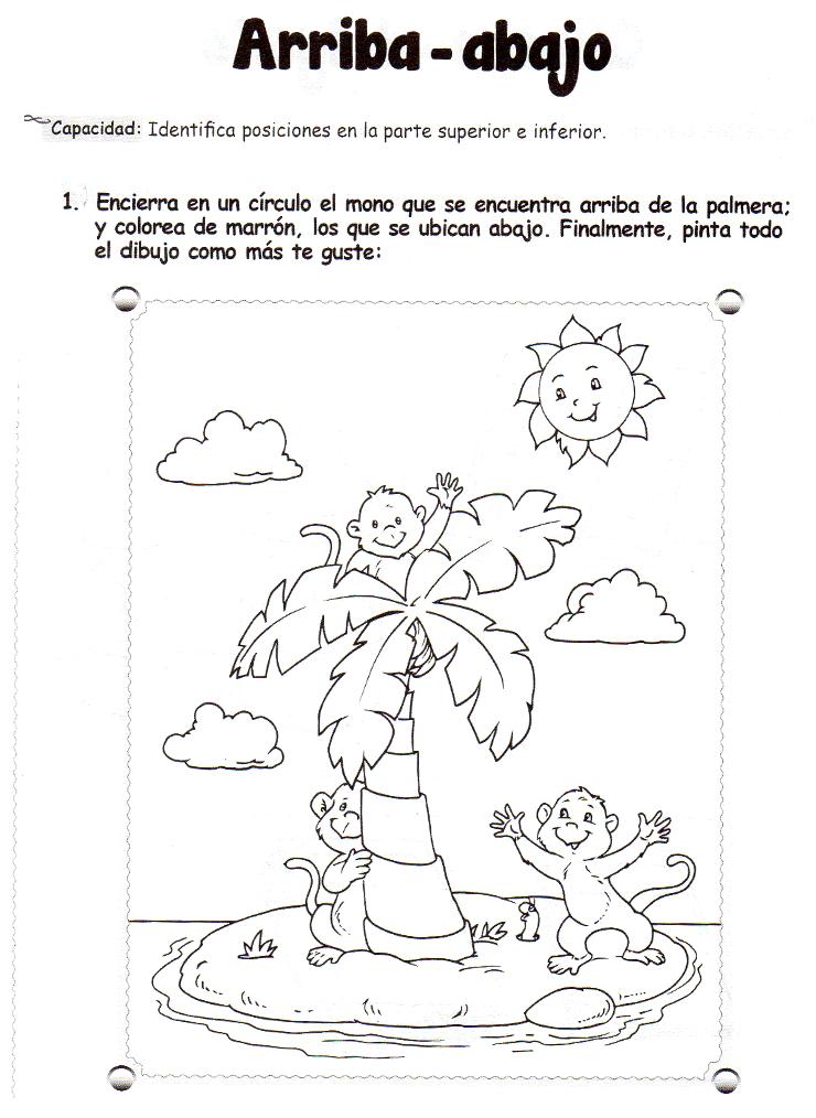 Ficha imprimible de matemáticas para 5 años. Tema: arriba - abajo ...