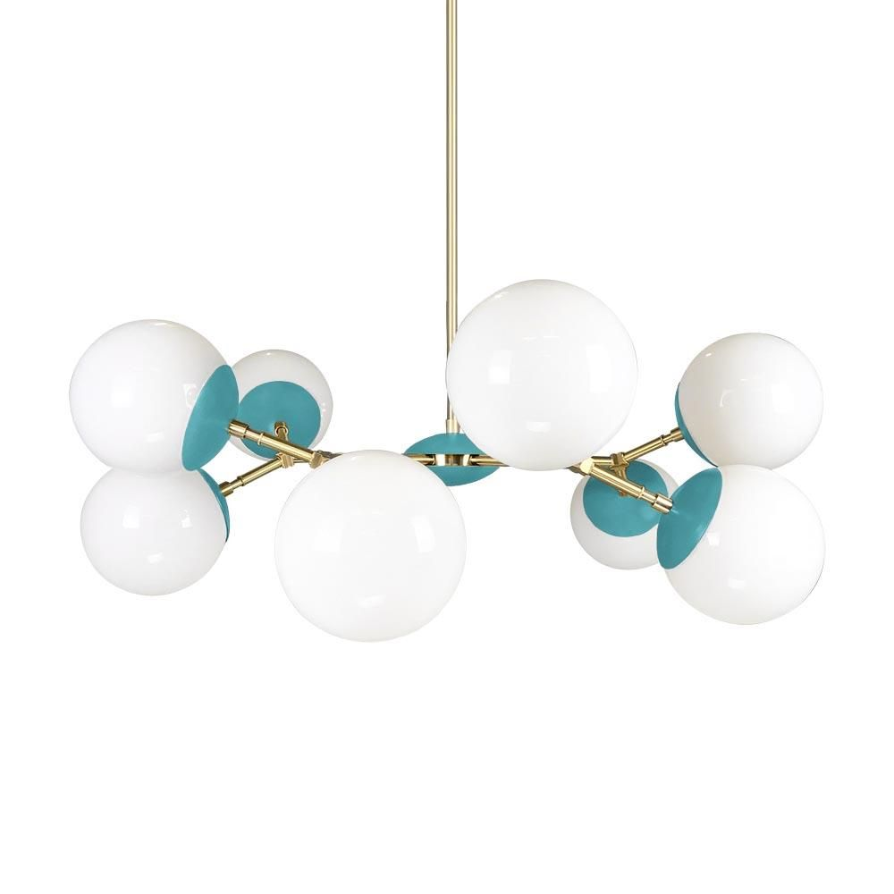 The color crown globe chandelier 32 is a colorful beauty with its vortex of nested globes its circular shape is perfect above circular and square tables