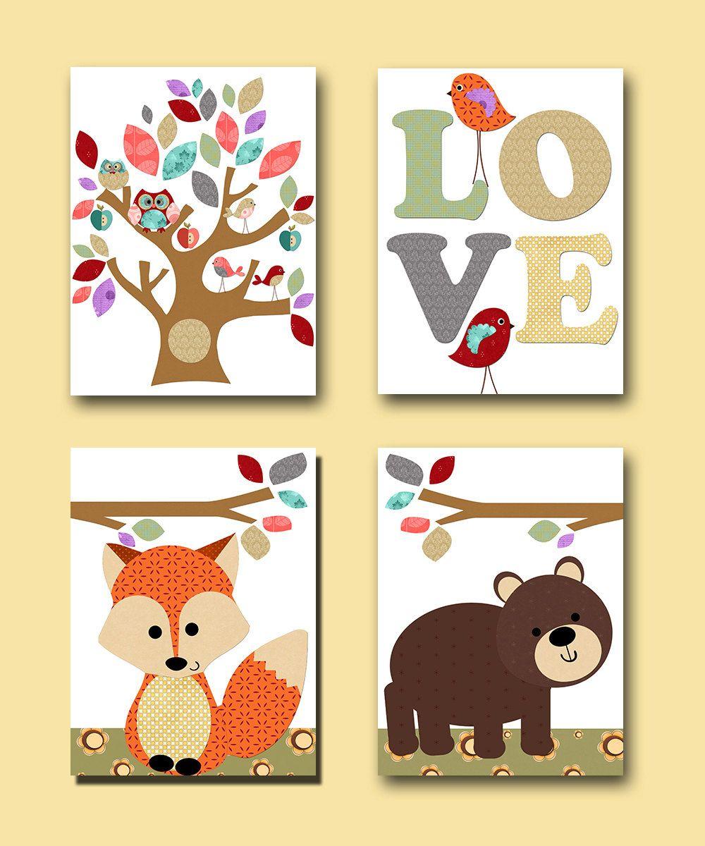 Orange Gray Baby Room Decor Owl Decor Fox Nursery Bear Nursery Art ...